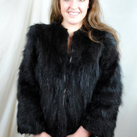 Vintage Black Bear Fur Coat