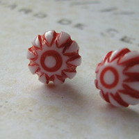 Vintage White Red Earrings, Carnival Earrings, Etched Striped Earrings, Sterling Silver Post Stud Earrings