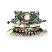 silver tone spike multi pack of bracelets