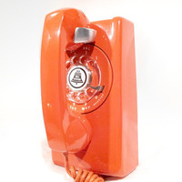 WORKING- Orange Rotary Wall Phone Telephone