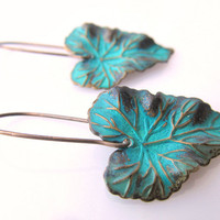 Verdigris Blue Leaf Charm Earrings, Blue Patina Leaf Earrings, Teal Blue Drop Earrings, Brass Patina Earrings, Fall Fashion, Autumn trend