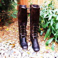 vintage tall dark chocolate brown suede zip up boot. Joyce California. fleece lined. size 7M. Mod fashion. fall fashion
