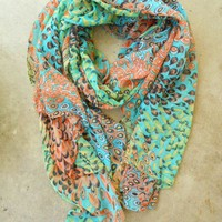 Charming Peacock Feather Scarf [2252] - $16.50 : Vintage Inspired Clothing & Affordable Fall Frocks, deloom | Modern. Vintage. Crafted.