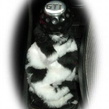 cow black and white cute faux fur furry fluffy fuzzy gear stick gear shift gaiter cover car boot sleeve cover moo