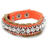 "Juicy Couture ""Wave Catcher Key Items"" Rhinestone Jute Single UV Orange Wrap Bracelet- - designer shoes, handbags, jewelry, watches, and fashion accessories 