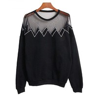 Women's Sexy Pullover Fleece With Embroidery And Transparent Grenadine Design