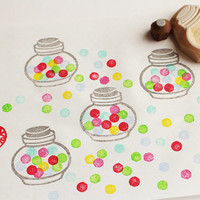 bubble gum jar stamp set. sweets hand carved rubber stamp. diy birthday/christmas. gift wrapping/craft projects. set of 2