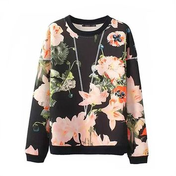 Estrendy Classical Pastoral Women's Pullover Fleece With Long Sleeves Black - M