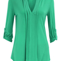 Green pleat front top - Fashion Tops  - Clothing