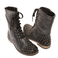 Papaya Clothing Online :: LEATHERETTE STUDDED BOOTS