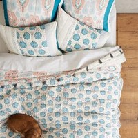 Tasseled Zala Quilt by Anthropologie Blue