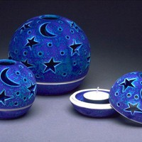 IN STOCK Amethyst Stars and Moon Velvet Purple by blueroompottery