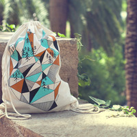 Geometric mountain- screen printed canvas backpack tote