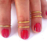 5 Above the Knuckle Rings -  Gold   Above Knuckle Ring  - Set of 5 by Tiny Box