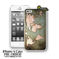 iPhone 5 Case, Vintage World Map iPhone 5 Case Hard Fitted iPhone 5 Case, iPhone 5 Hard Case
