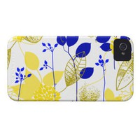 Cute Retro Floral, Yellow & Blue Case-Mate iPhone 4 Cases from Zazzle.com