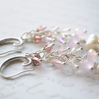 Cherry Blossom Earrings-  Silver Wire Wrapped crystal and pearl
