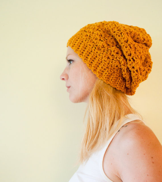 Slouchy hat beanie crocheted - mustard yellow goldenrod - wool