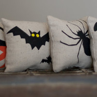 Set of 4 Halloween Pillows Spider Bat Pumpkin and Cat