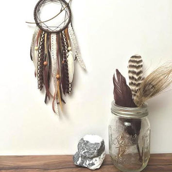 Dream Catcher - Organic, Upcycled, Tribal Branch Dreamcatcher - Brown, White, Tan