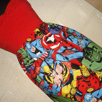 Larger Print Avengers Mini Skirt w/ Hulk, Captain America, Spiderman, Iron Man, Wolverine -  High Waisted Ladies Skirt