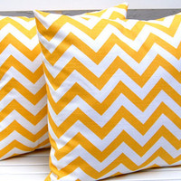 Chevron Pillow Covers Yellow and White 20 x 20 by SFOQuilter