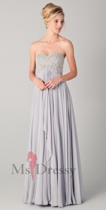 A-line Sweetheart Floor-length Chiffon Gray Dress With Pleating at Msdressy