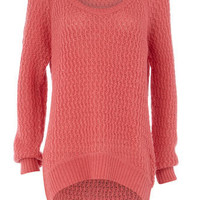 Pink open stitch jumper - Jumpers  - Clothing