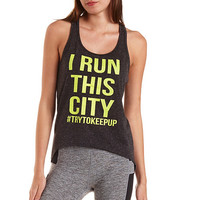 Run This City Graphic Tank Top by Charlotte Russe - Black Combo