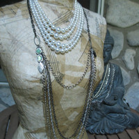 long layered statement necklace with pearls and black cross - urban priestess - ecofriendly
