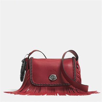 COACH Dakotah Small Fringe Flap Crossbody in Whiplash Leather at Von Maur