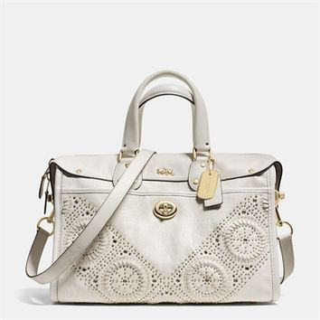 COACH Mini Studs Rhyder Satchel in Leather at Von Maur