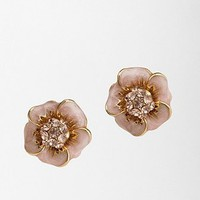 Enamel Flower With Pave Center Post Earring