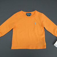 Ralph Lauren POLO Infant Boy's Sweat Shirt Long Sleeve Orange 9M/ New With Tags