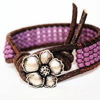 Bohemian Leather Bracelet, Leather Beaded Wrap Bracelet 1x, Boho Chic, Hibiscus Flower, Bohemian Jewelry