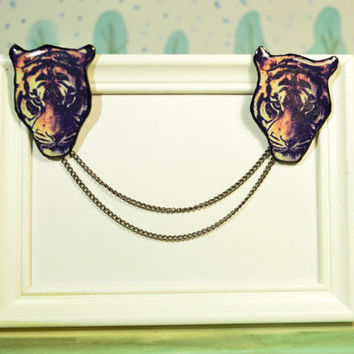 tiger jewelry , tiger brooch , tiger  necklace ,sweater clip , collar chain , cardigan guard , collar pin , collar brooch , gift for her