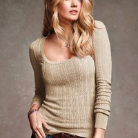 Cotton Thermal Scoopneck Sweater
