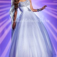 Princess Ball Gown Strapless Floor Length Organza Prom Dress-$158.99-ReliableTrustStore.com
