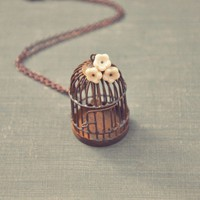 whimsical birdcage necklace by bellehibou on Etsy