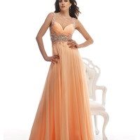Morrell Maxie Flowing Peach Embellished Gown Prom 2015