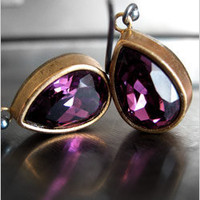 Vintage Swarovski Crystal Earrings in Amethyst Purple - Shy Siren