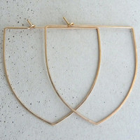 Large CREST HOOPS - Hammered Gold Hoop Earrings - 14k Gold Filled Large Hammered Hoops