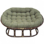 International Caravan Rattan Double Papasan Chair with Micro Suede Cushion - 3304-93304-MS - Pillows, Blankets & Slipcovers - Decor