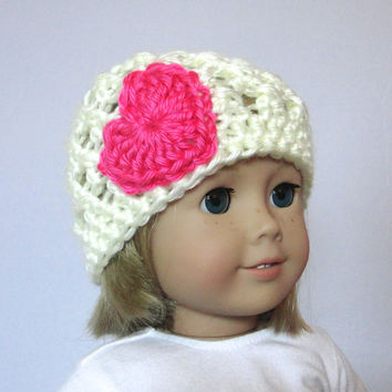 "Doll Hat Cream with Hot Pink Heart 18"" Doll Accessories"