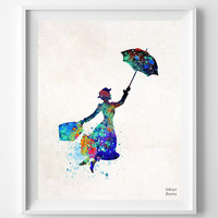 Marry Poppins, Print, Watercolor, Julie Andrews, Nursery, Baby, Room, Gift, Poster, Art, Illustrations, Watercolour, Home Decor [NO 690]