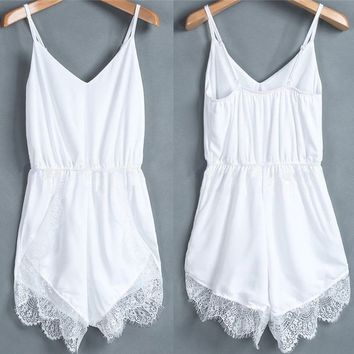 Women Lace Chiffon Sleeveless Jumpsuit Rompers Party Playsuit Dresses