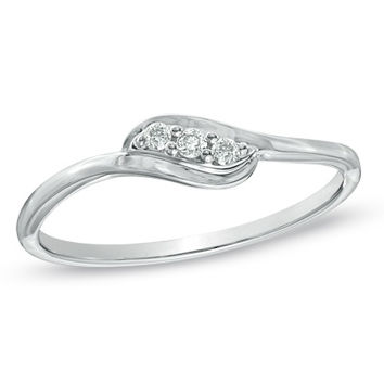 Diamond Accent Three Stone Slant Promise Ring in 10K White Gold