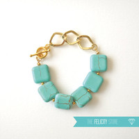 Mint Turquoise Gold Chain Bracelet - Felicity Chain Bracelet