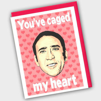 Funny Valentine's Day Card - Nicolas Cage Card - Funny Valentine - You've Caged My Heart - Valentine's Day Card - Nicolas Card - Nic Cage