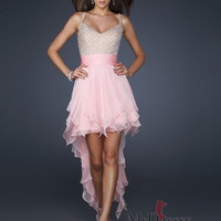 A-line Spaghetti Straps Asymmetrical Chiffon Prom Dress with Ruffled and Beading at Msdressy